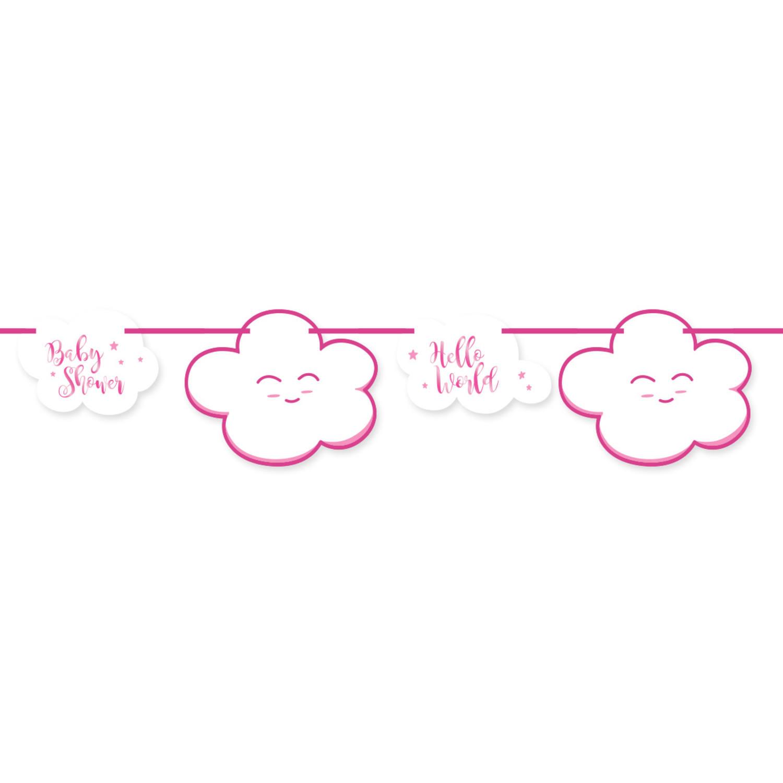 0ff6887241bf27 Roze Babyshower Meisje Slinger - 4 meter