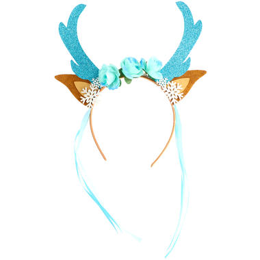 Tiara Reindeer with Flowers and Snowflakes Blue 1