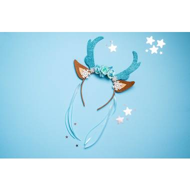Tiara Reindeer with Flowers and Snowflakes Blue 2