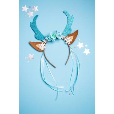 Tiara Reindeer with Flowers and Snowflakes Blue 3