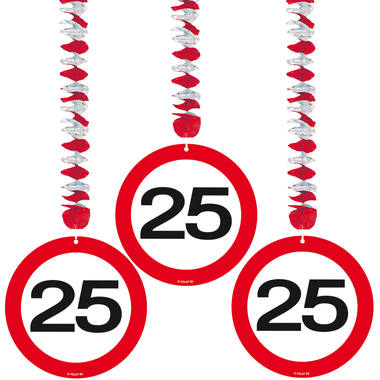 25th Birthday Traffic Sign Hangers - 3 pieces  1