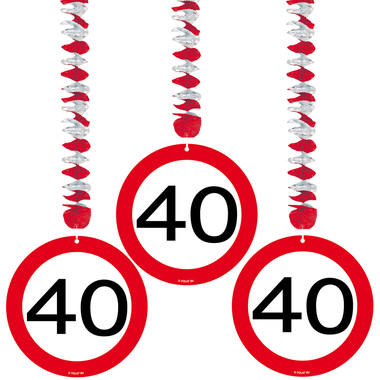 40th Birthday Traffic Sign Hangers - 3 pieces 1