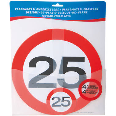 25th Birthday Traffic Sign Placemat and Coasters Set - 4 pieces 2