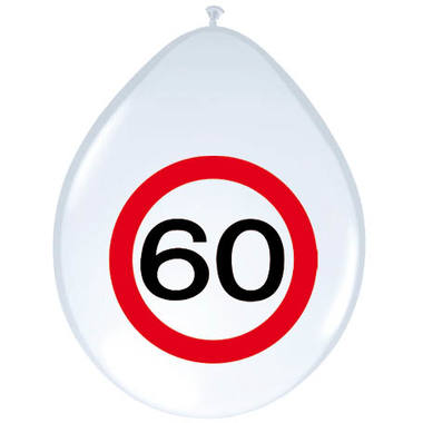 60th Birthday Traffic Sign Balloons - 8 pieces 1