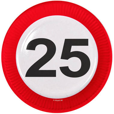 25th Birthday Traffic Sign Paper Plates - 8 pieces 1