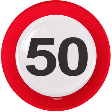 50th Birthday Traffic Sign Paper Plates - 8 pieces 1