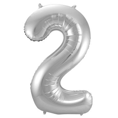 2 Shaped Number Foil Balloon Silver - 86 cm 1