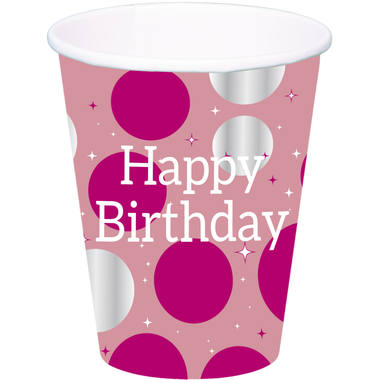 Cups Glossy Pink 'Happy Birthday' 250ml - 8 pieces 1