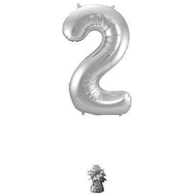 2 Shaped Number Foil Balloon Silver - 86 cm 2