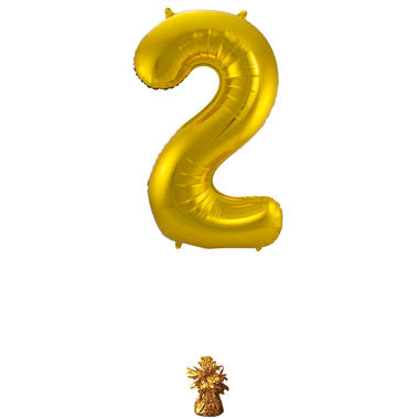 2 Shaped Number Foil Balloon Gold - 86 cm 2