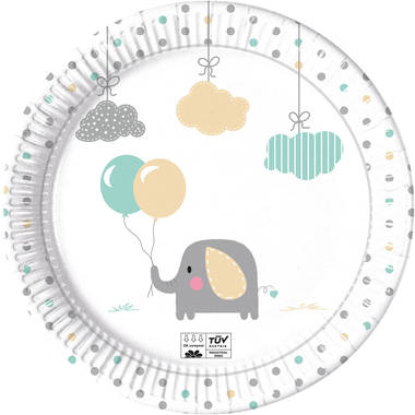 Plates Paper Compostable Baby Elephant 23cm - 8 pieces 1