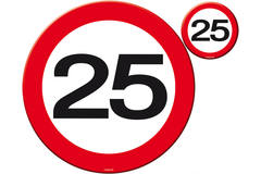 25th Birthday Traffic Sign Placemat and Coasters Set - 4 pieces 1