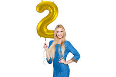 2 Shaped Number Foil Balloon Gold - 86 cm 3