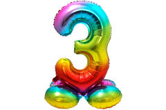 Foil Balloon with Base Number 3 Rainbow - 81 cm 1