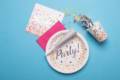 Disposable Plates Confetti Party 23 cm - 8 pieces 2